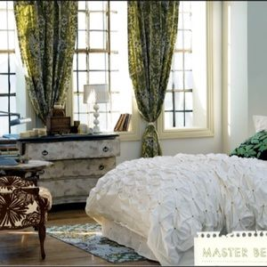 Anthropologie green paisley print curtains